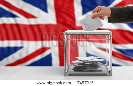 Voter On An Uk Flag Background. 3D Illustration