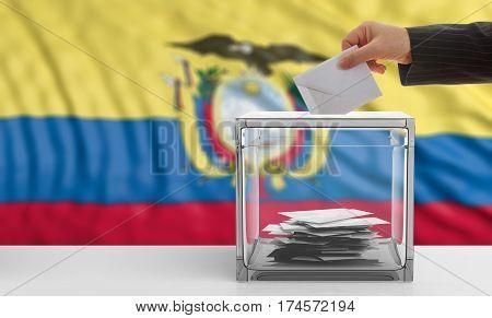 Voter On An Ecuador Flag Background. 3D Illustration