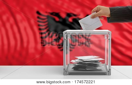 Voter On An Albanian Flag Background. 3D Illustration