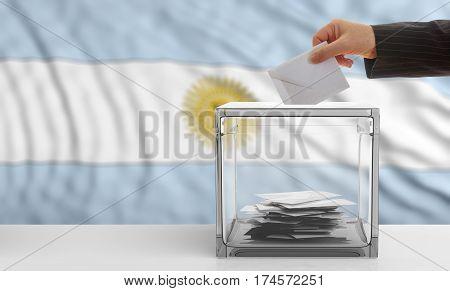 Voter On An Argentina Flag Background. 3D Illustration