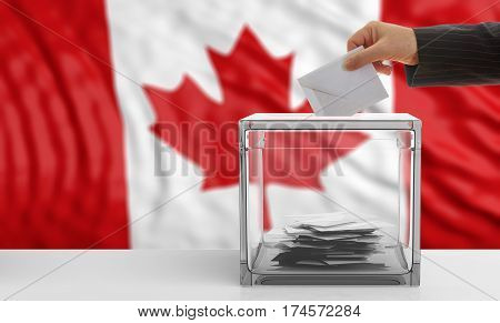 Voter On A Canada Flag Background. 3D Illustration