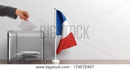 Ballot Box And A Small France Flag. 3D Illustration