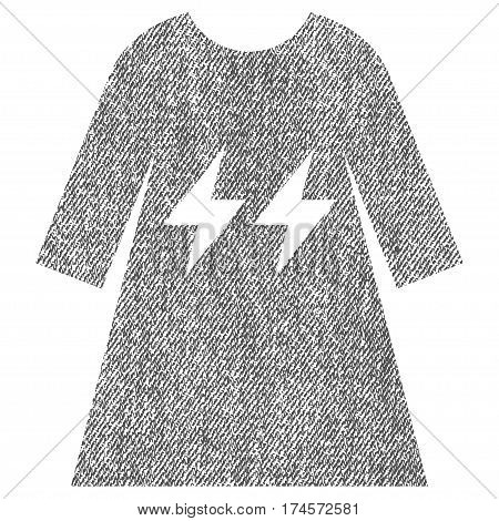 Electric Energy Girl Dress vector textured icon for overlay watermark stamps. Fabric gray vectorized texture. Symbol with unclean design. Rubber seal stamp with fiber textile structure.