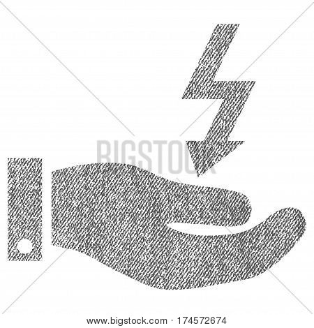 Electric Energy Service Hand vector textured icon for overlay watermark stamps. Fabric gray vectorized texture. Symbol with unclean design. Rubber seal stamp with fiber textile structure.