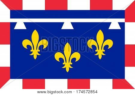 Flag of Centre-Val de Loire is one of the 18 regions of France. Vector illustration