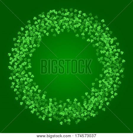 Square Saint Patricks Day background with green clover confetti. Wreath of shamrock leaves. Torus shape frame. Template for greeting card design, banner, flyer, party invitation.