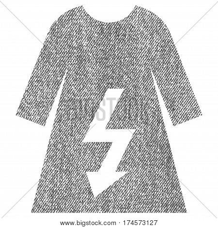 Electric Woman Dress vector textured icon for overlay watermark stamps. Fabric gray vectorized texture. Symbol with dirty design. Rubber seal stamp with fiber textile structure.