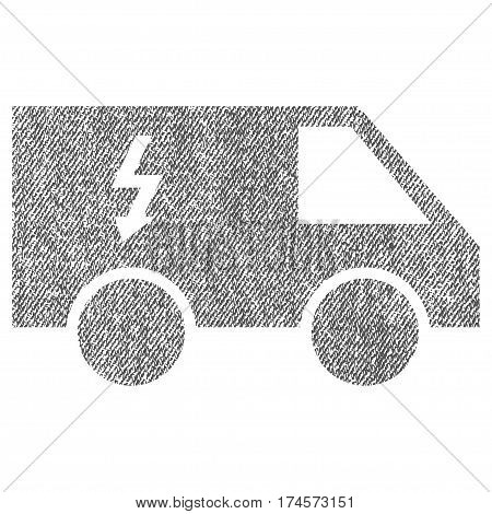 Electrical Car vector textured icon for overlay watermark stamps. Fabric gray vectorized texture. Symbol with dust design. Rubber seal stamp with fiber textile structure.