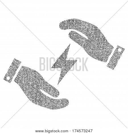 Electricity Care Hands vector textured icon for overlay watermark stamps. Fabric gray vectorized texture. Symbol with dust design. Rubber seal stamp with fiber textile structure.
