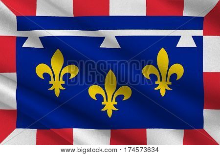 Flag of Centre-Val de Loire is one of the 18 regions of France. 3d illustration