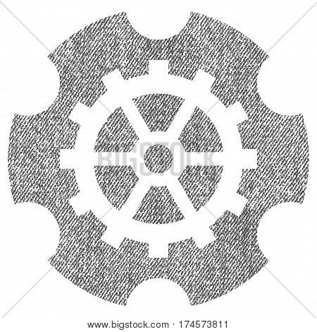 Gearwheel vector textured icon for overlay watermark stamps. Fabric gray vectorized texture. Symbol with unclean design. Rubber seal stamp with fiber textile structure.
