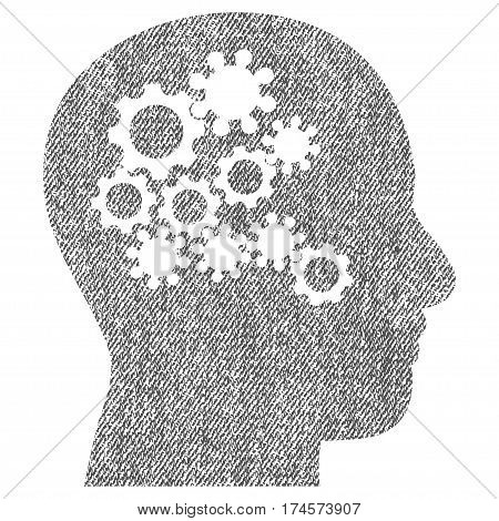 Human Mind Gears vector textured icon for overlay watermark stamps. Fabric gray vectorized texture. Symbol with dirty design. Rubber seal stamp with fiber textile structure.