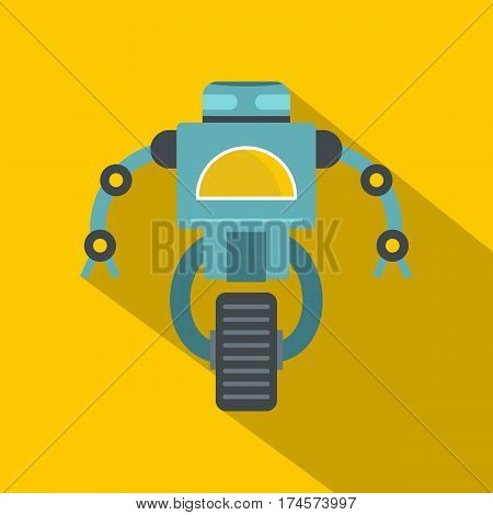 Blue cyborg on wheel icon. Flat illustration of blue cyborg on wheel vector icon for web isolated on yellow background