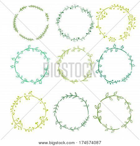 green round frames with doodle plants and twigs with green leaves and berries, hand drawn color floral wreathes, natural templates
