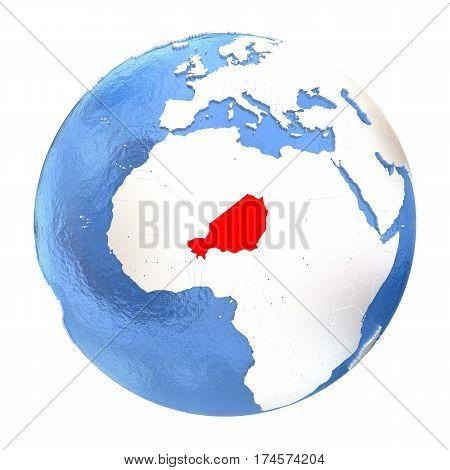 Niger On Globe Isolated On White