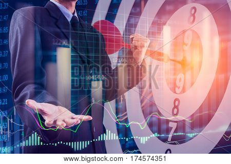 Target arrow and stock market financial graph. Target of stock market financial analysis. Target of stock market financial to victory concept. Financial graph and goal stock market target. Stock market or financial target success concept.