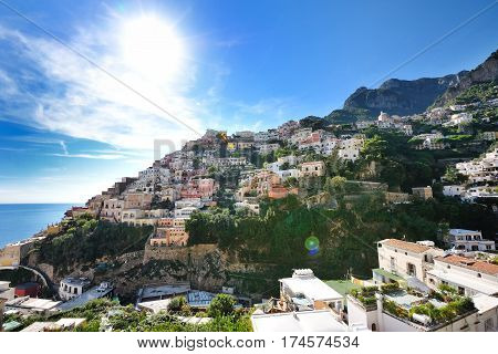 Positano panoramic view in a summer day Amalfi coast Southern Italy