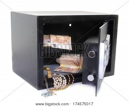strong box with cash and jewlery in front of white background