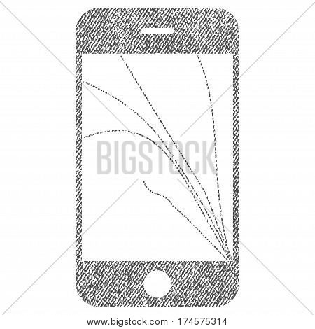 Smartphone Screen Cracks vector textured icon for overlay watermark stamps. Fabric gray vectorized texture. Symbol with scratched design. Rubber seal stamp with fiber textile structure.