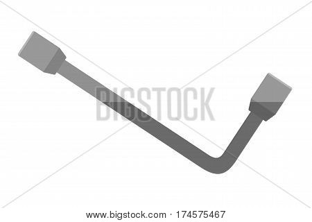 Socket wrench. Illustration of flat socket wrench on a white background isolate. Tool for repair. Stock vector