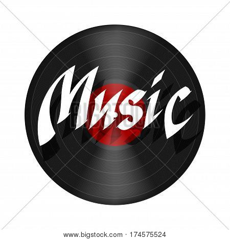 Record music. Plastic musical plate on a white background with the word MUSIC. Record music disc isolate. Stock vector