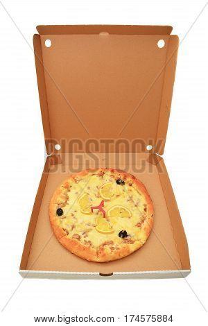 delicious pizza in cardboard box over white background