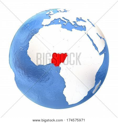 Nigeria On Globe Isolated On White