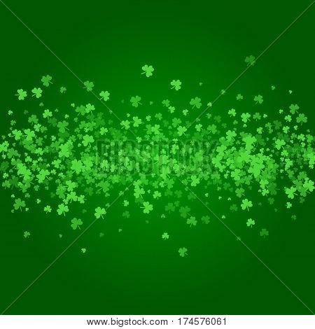 Square Saint Patricks Day background with green clover confetti. Stripe of shamrock leaves. Wide bar of trefoils. Template for greeting card design, banner, flyer, party invitation.