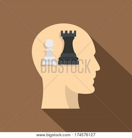 Queen and pawn chess inside human head icon. Flat illustration of queen and pawn chess inside human head vector icon for web isolated on coffee background