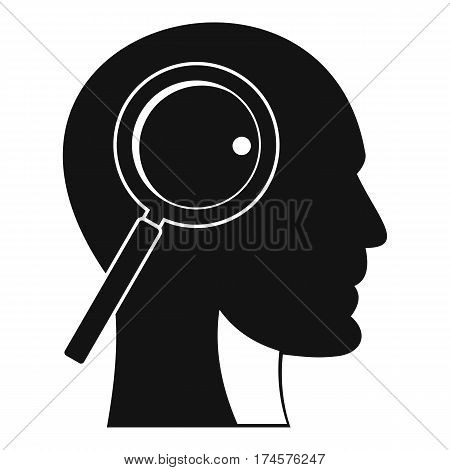 Magnifying glass in head icon. Simple illustration of magnifying glass in head vector icon for web