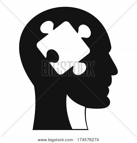 Head with puzzle icon. Simple illustration of head with puzzle vector icon for web