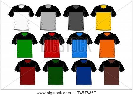 Template Design T Shirt Combinations Colorful, Vector.