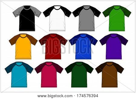 Template Design T shirt Raglan Colorful, Vector