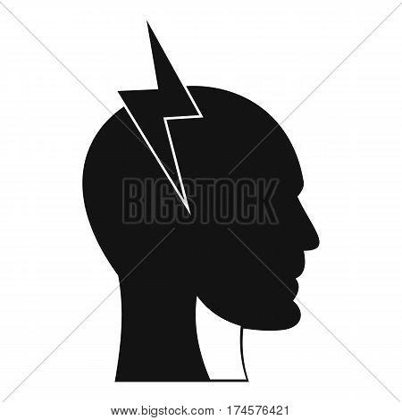 Lightning bolt inside head icon. Simple illustration of lightning bolt inside head vector icon for web