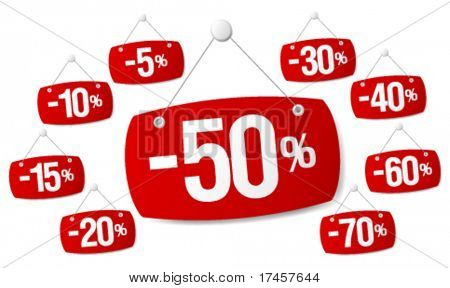 Set of red signs for discount sale