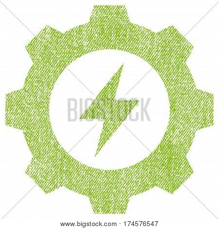 Electric Energy Gear vector textured icon for overlay watermark stamps. Fabric light green vectorized texture. Symbol with unclean design. Rubber seal stamp with fiber textile structure.
