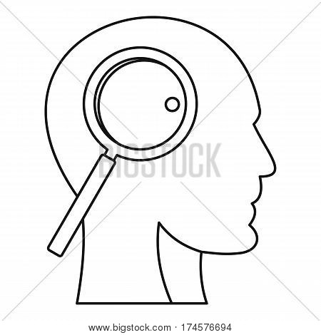 Magnifying glass inside human head icon. Outline illustration of magnifying glass inside human head vector icon for web