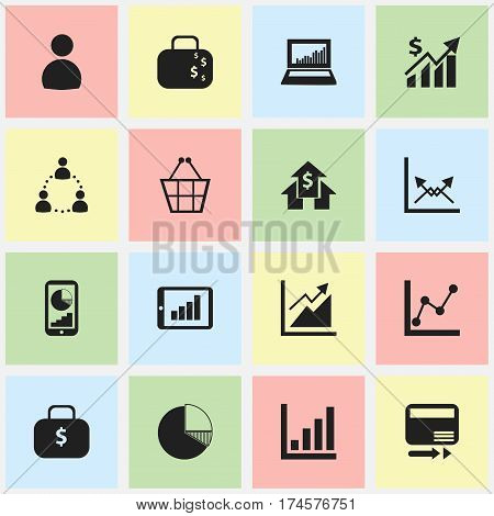 Set Of 16 Editable Analytics Icons. Includes Symbols Such As Schema, Revenue, Bar Chart And More. Can Be Used For Web, Mobile, UI And Infographic Design.