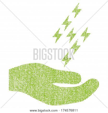 Electric Energy Offer Hand vector textured icon for overlay watermark stamps. Fabric light green vectorized texture. Symbol with dirty design. Rubber seal stamp with fiber textile structure.