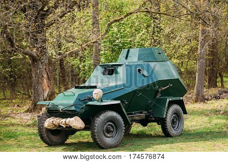 Russian Armoured Soviet Scout Car BA-64 Of World War II In Forest
