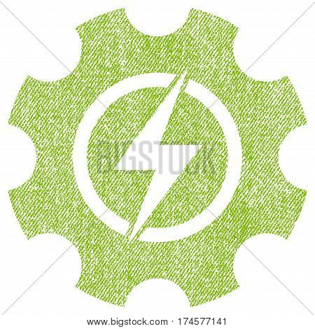 Electric Power Cog Gear vector textured icon for overlay watermark stamps. Fabric light green vectorized texture. Symbol with scratched design. Rubber seal stamp with fiber textile structure.