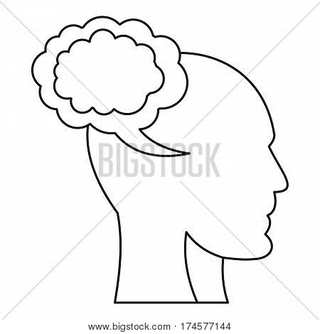 Cloud and human head icon. Outline illustration of cloud and human head vector icon for web