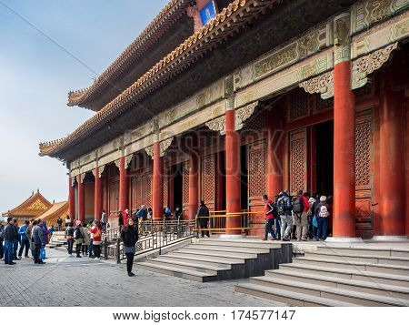 Beijing, China - Oct 30, 2016: Hall of Preserved Harmony (Baohedian). Forbidden City (Gu Gong, Palace Museum). Ceremonial rehearsals and final imperial examinations were conducted in this venue.