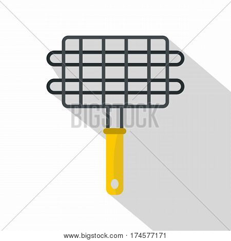 Steel grid for grill icon. Flat illustration of steel grid for grill vector icon for web isolated on white background
