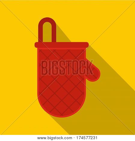 Red oven mitten icon. Flat illustration of red oven mitten vector icon for web isolated on yellow background