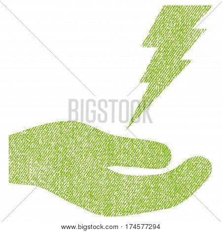 Electric Service Hand vector textured icon for overlay watermark stamps. Fabric light green vectorized texture. Symbol with scratched design. Rubber seal stamp with fiber textile structure.