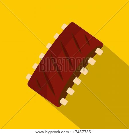 Grilled pork rib meat icon. Flat illustration of grilled pork rib meat vector icon for web isolated on yellow background