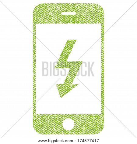 Electric Smartphone vector textured icon for overlay watermark stamps. Fabric light green vectorized texture. Symbol with dirty design. Rubber seal stamp with fiber textile structure.