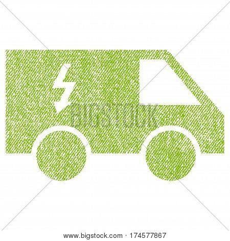 Electrical Car vector textured icon for overlay watermark stamps. Fabric light green vectorized texture. Symbol with dirty design. Rubber seal stamp with fiber textile structure.