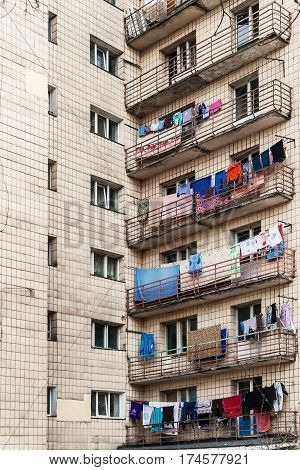 Apartment House Hostel In Kiev, Ukraine. Colorful Photo. Drying Clothes On The Balcony. Multi-storey